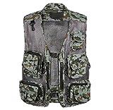 Sentao Hommes Multi-poches Gilet de Pêche en Maille Camouflage Photographie Séchage Rapide