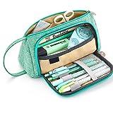 Angker - Estuche de gran capacidad para lápices y bolígrafos, de lona, coloreado, ideal como regalo de Navidad, color verde
