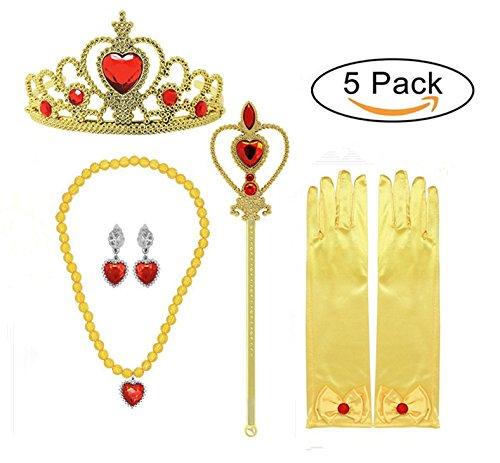 n sich Accessoires 5 Stück Geschenkset Halskette Ohrringe Handschuhe (Gelb) (Luna Girl Kostüm)
