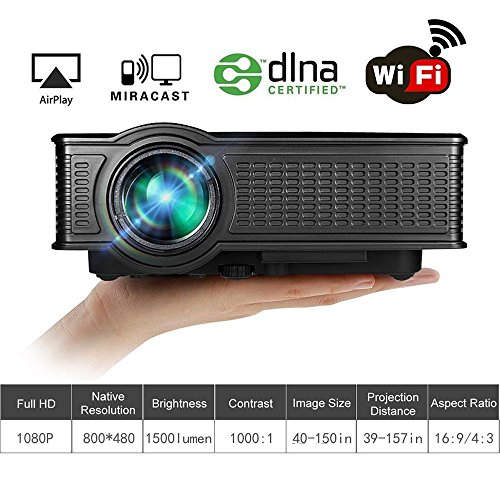 Wifi Projector, huiheng SD50 Plus Wireless Projector Mini LED Projector Full HD Multimedia...