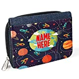 Childrens Purse Planets Space Personalised Girl Boy Denim Coin Money Wallet Gift SH190