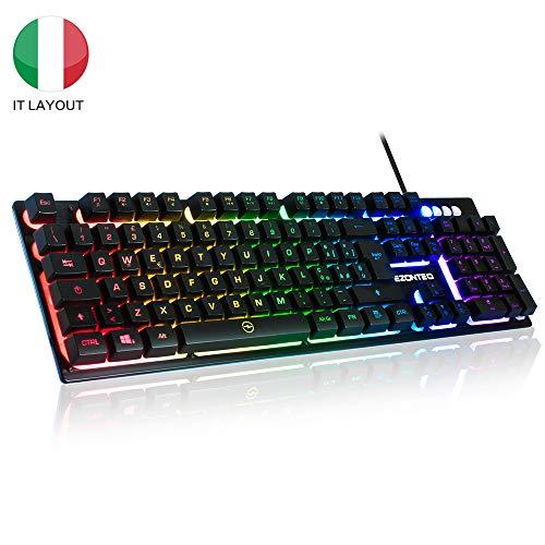 Tastiera Gaming PC, Tastiera Italiana Giochi Rgb LED Retroilluminazione USB, Tastiera gaming per...