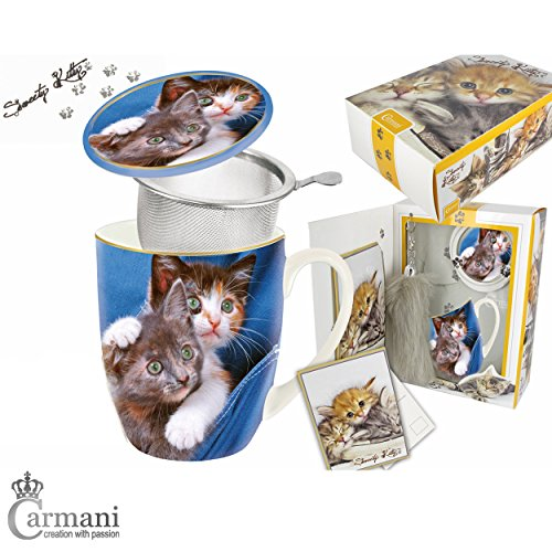 CARMANI - Sweety Kitty - Chaton imprimé Tasse 5 pieces avec baguette de queue de chat