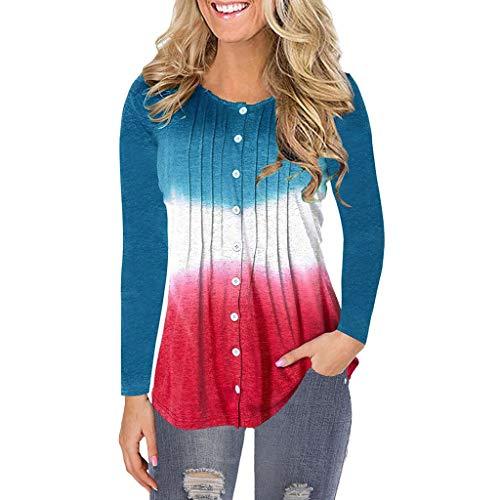 Pullover Sweatshirt für Damen,Kobay 2019 Halloween Heiligabend Weihnachten Christmas Langarm O-Ausschnitt Bluse Patchwork Pullover T-Shirt Farbverlauf Tops