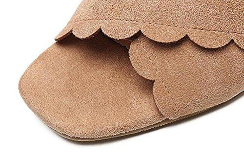 Zoccoli e Muli PU X-cintura di 6,5 centimetri grosso tacco medio peep toe Elegant Shopping pattini casuali Dimensione UE 35-39 apricot