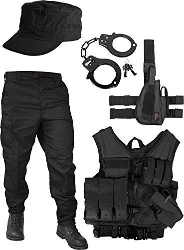 United States Marine Corps Kostüm Set bestehend aus Weste, Hose, Holster, Handschellen und Feldmütze Farbe Schwarz Größe XXL (Hosen Handschellen)