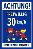 Melis Folienwerkstatt Schild - Freiwillig 30 km/h - 60x40cm | Bohrlöcher | 3mm Hartschaum - S00040-027-F - 20 Varianten