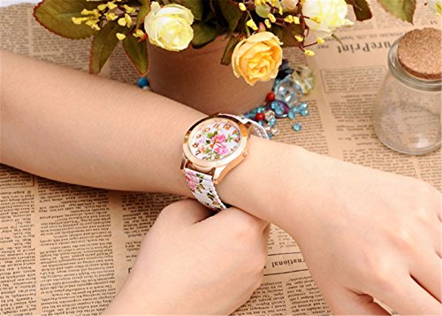 JSDDE Uhren, Damenmode Pfingstrosen Blume Armbaduhr,Basel-stil Flexband Quarzuhr(Weiß) - 3
