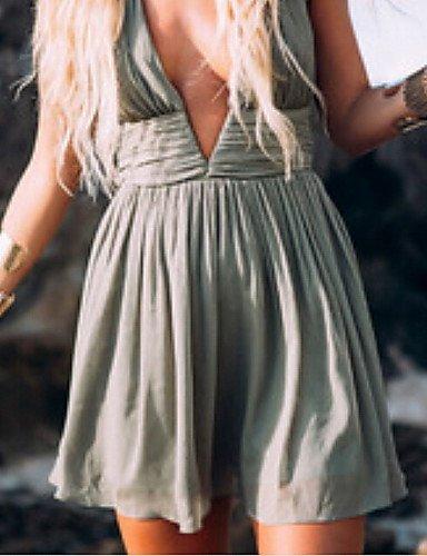 PU&PU Robe Aux femmes Moulante Soirée / Décontracté / Plage , Couleur Pleine Licou Au dessus du genou Mousseline de soie green-s