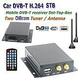Kunfine 12~ 24V de voiture DVB-T TV Box Diversity 2antenne MPEG2MPEG4H.264STB
