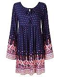 KOJOOIN Damen Kleid Boho Bohemian Style Tunikakleid Strandtunika Azteken Muster Shirtkleid Dunkelblau XL