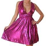 Kleid Cocktailkleid Minikleid V-Ausschnitt Leder-Optik Wet-Look Neckholder Einheitsgröße 34-40 - Pink