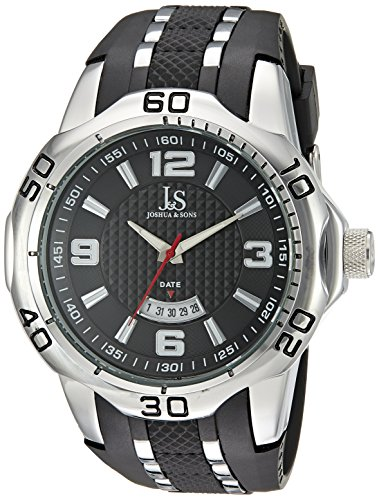 Joshua & Sons Men's JX110SSB Silver Quartz Watch with Black Dial and Black and Silver Silicone Strap