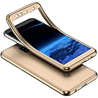 YSIMEE Compatible Fundas Samsung Galaxy J6 Plus 2018 Estuches Transparente Silicona 360 Grados Completa integral Frente y Detrás Suave Ultra Delgado Bumper TPU Goma Protectora Carcasas,Oro
