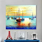 Sin Pintura Enmarcada Por Números Pintura Artística Por Número Navegación Diy Costa Del Mar Puesta Del Sol Pintura Del Paisaje Coloreado A Mano Decoración Pintura 40x50cm