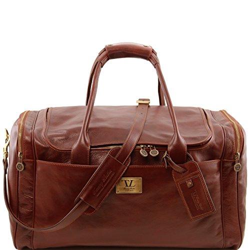 81412964 - TUSCANY LEATHER: Sac de voyage en cuir avec poches aux côtés, marron