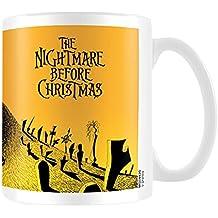 The Nightmare Before Christmas Pesadilla antes de Navidad cementerio escena taza de cerámica, multicolor