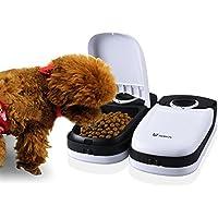WOPETS Automatischer Futterautomat / Futterspender mit Timer für Katzen und kleine Hunde, 2 Mahlzeit