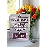 Wenn die Gelegenheit nicht klopft, bau eine Tür Inspirierende Zitat Tafel, wanddekoration – Wohndekor, Wandtafel, hängendes Holzschild