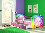 Clamaro 'Fantasia Pink' 180 x 80 Kinderbett Set inkl. Matratze, Lattenrost und mit Bettkasten Schublade, mit verstellbarem Rausfallschutz und Kantenschutzleisten, Design: 18 Einhorn Regenbogen