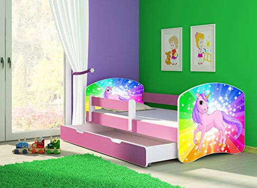 *Clamaro 'Fantasia Pink' Motiv Kinderbett Komplett Set 160 x 80 cm inkl. Matratze, Lattenrost und Bettkasten Unterbett Schublade auf Rollen, Kantenschutzleisten umlaufend, extra Rausfallschutz Seitenteil (verstellbar), Seitenteile: Pink, Design: 18 Einhorn Regenbogen*