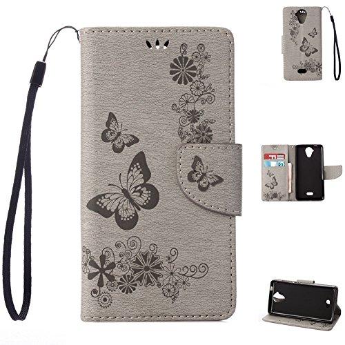 Wiko U feel Lite Handyhülle Book Case Wiko U feel Lite Hülle Klapphülle Tasche im Retro Wallet Design mit Praktischer Aufstellfunktion - Etui Grau