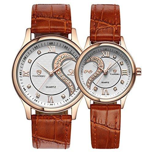 Conjunto de relojes de pulsera románticos para parejas, con adorno de corazones y correa de piel ultrafina, juego de 2.