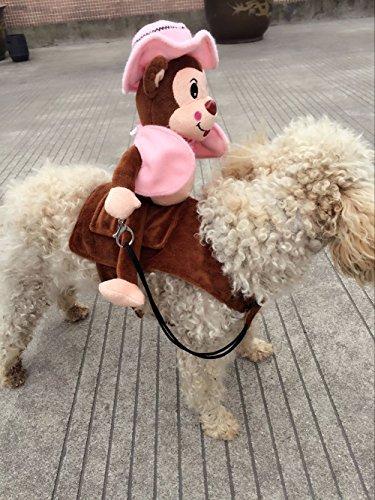 outflower Funny Monkey Riding Hund Katze Puppy Halloween-Kostüm Pet Up Party Kleid Apparel Tuch (L) M (Puppys Halloween-kostüme Für)