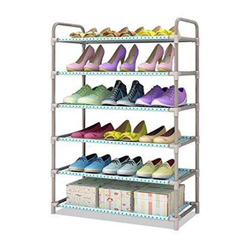 NSGP 6 Tiers Metall Schuhregal Regal Faltbare Stapelbar Speicherorganisator 18 Paar Schuhe Balkon Eingang Ecke Eingang -