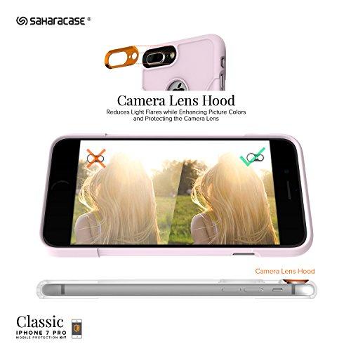 Funda iPhone 7 Plus, (Rosa) Kit Funda Protectora SaharaCase con [Protector de Pantalla de Vidrio Templado ZeroDamage] Fuerte Protección Antideslizante [Cubierta Anti-golpes] Fino y Elegante