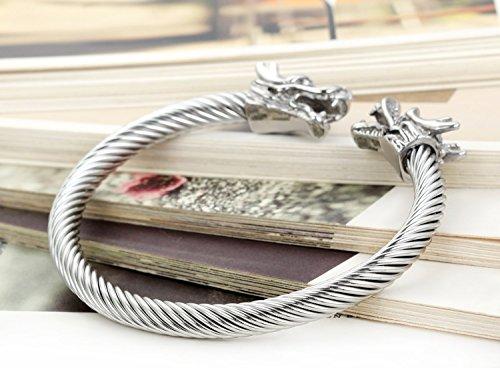 Flongo Bracelet Acier Inoxydable Manchette Câble Double Tête de Dragon Lien Ouvert Poli Fantaisie Bijoux Cadeau Couleur Argent Or pour Femme Homme Argent