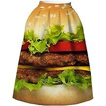 YYHSO Vestido de las mujeres únicas de la manera Cintura alta A - línea falda plisada hamburguesa 3D Impresión digital Rodilla Longitud de la falda corta , as shown , l/xl