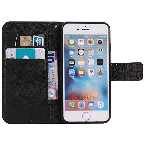 PU Coque Cuir iPhone 6 (4.7 pouces), étui en cuir PU Cuir Flip Magnétique Portefeuille Fermeture Aimantée de Motif Imprimé Étui Housse en Cuir Ultra-mince Avec La Stand Fonction Stand pour Apple iPhon 10