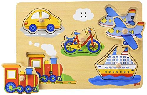 Goki 57519 - Puzle Sonoro Medios De Transporte (5 Pzas) (Madera) (+1)