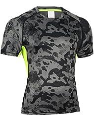 SaiDeng Hommes Camouflage Serré Sport Courir Tops Compression Séchage Rapide T-Shirt