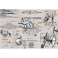 """Komar &Quot;Star Wars Blueprints"""" Papier Peint Mural, Multicolore, 8 lais"""