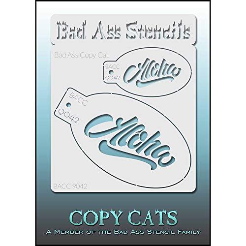 Bad Ass Copy Cat Stencil - Aloha 9042, dünne, flexible, High Grade Mylar, wiederverwendbare Gesichtsmalerei Schablone, groß für Airbrush, Pinsel, Schwamm Application
