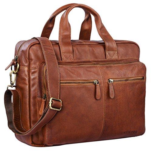 STILORD 'Leandro' Ledertasche Herren Laptoptasche 15.6 Zoll braune Messenger Bag multifunktional tragbar als Handtasche Umhängetasche Trolley Aufsatz Vintage Leder, Farbe:cognac - braun