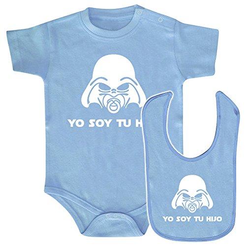 Pack Body bebé y babero Yo soy tu hijo (Star wars/Darth Vader - Yo soy tu padre - parodia). Regalo original. Body friki. Babero friki. (Azul, 3 meses)