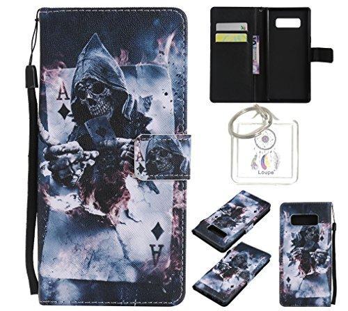 Preisvergleich Produktbild für Galaxy Note8 PU Wallet Case Schutz Hülle für Galaxy Note8 - Cover Flip Tasche mit Kartenfach in Buch Stil mit Kartenfach Standfunktion Magnetverschluss und Hand Wrist +Schlüsselanhänger (O) (7)
