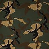 (11,90 € / M) Jersey Baumwolljersey Meterware Camouflage - Grün / Braun