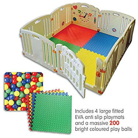 NEW Venture ALL STARS Baby Playpen | 8 Pcs Including Fun Activity Panel | Fitted Floor Mats And 200 Bright Coloured Play Balls | Strong And Duable - Made From High Quality Non-Toxic