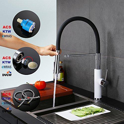 Homelody – Küchenarmatur mit hohem Auslauf, 360° drehbar, herausziehbar, Weiß-Chrom - 7
