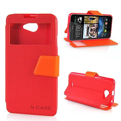 Desire 516 dual sim Custodia,COOLKE [Rosso+Arancione] Ultra Slim Custodia Flip Cover View con vista id (Pronto Basamento Della Bandiera)