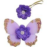 Ensemble Bébé Ailes de Papillon + Bandeau Elastique Fleur pour Cosplay Fée Props Photo