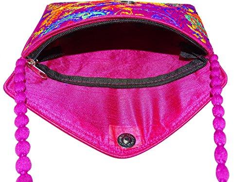 Indian Borsa A Mano Ricamata Tradizionale Donne Sacco Per Cadaveri Trasversale Del Sacchetto Di Sera Elegante Rosa-B