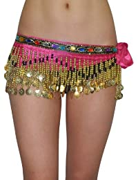 Womens Exotic Belly Dance Colorful Stones Beaded Hip Scarf with Coins - Pink