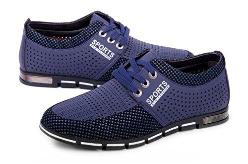 CANRO Chaussures de ville homme cuir Sneakers Basses bleue