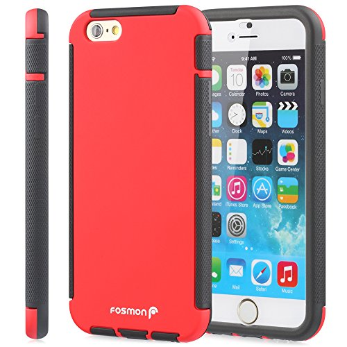 "Fosmon HYBO-SNAP Abnehmbar Hybride TPU + PC Case Cover hülle für Apple iPhone 6 Plus / 6s Plus (5.5"") - Schwarz / Rot rot"