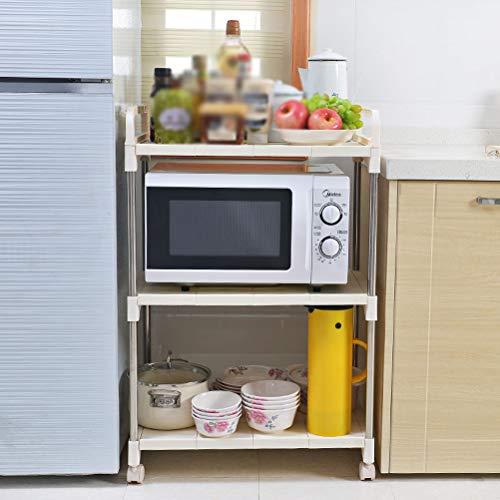 Kitchen furniture - Support de rangement au sol pour étagère de cuisine multicouche blanc pour four à micro-ondes WXP (taille : 55X35.2X86CM(With universal wheel))